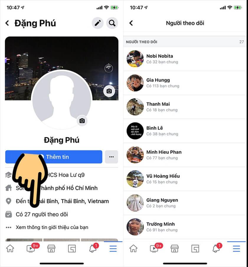 Cách xem số người theo dõi trên Facebook bằng điện thoại